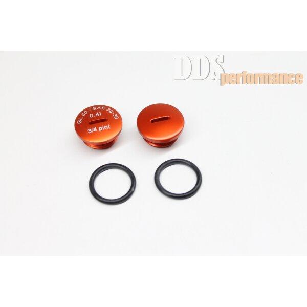 Set: Verschlußschraube - Alu orange eloxiert