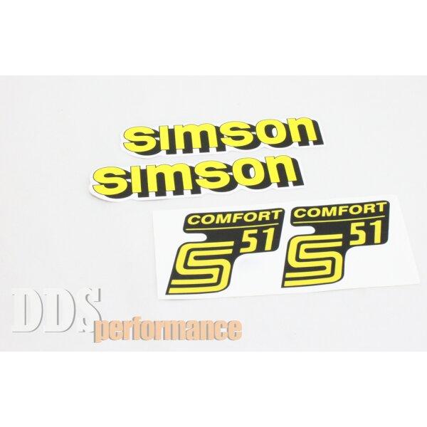 Aufkleber Set S51 Comfort (Gelb) Tank + Seitendeckel