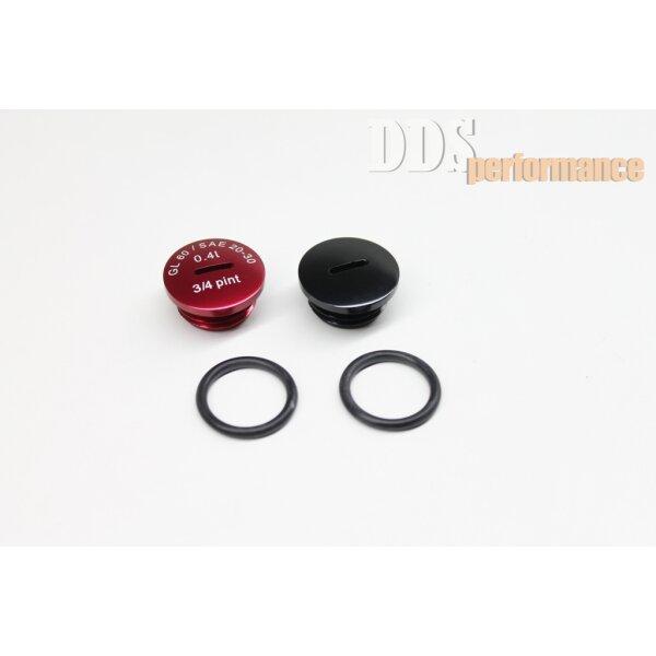 Set: Verschlußschraube - Alu rot/schwarz eloxiert