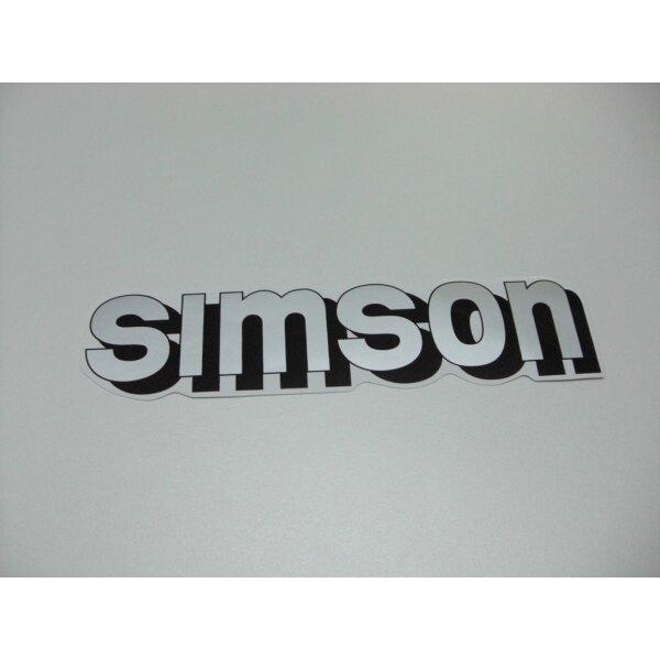 """Aufkleber """"Simson"""" für Tank - silber"""