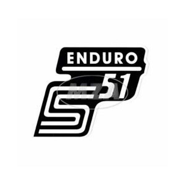 """Aufkleber """"S51 Enduro"""" für Seitendeckel - weiß"""